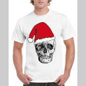 Santa Skull - Gildan Regular White Mens T Shirt SPECIAL